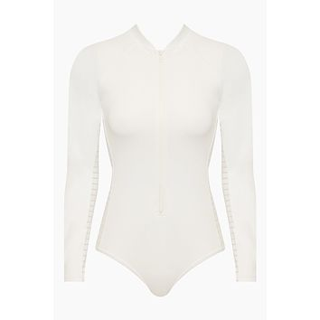 Surf Zipper Front Long Sleeve Rashguard Bodysuit - White