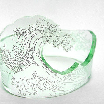 Customizable Kanagawa wave acrylic bangle. Hand bent and available in white, black, blue and glass.
