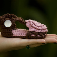 Baby Sandals with Flower, Pink and Brown Shoe, newborn-6 months, Christmas in July Sale, CIJ