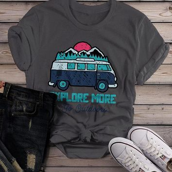 Women's Hipster Explore T shirt Road Trip Shirts Go Outside Vintage Van Graphic Tee Hand Drawn