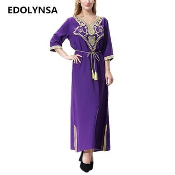 V-neck Muslim Abaya Dress With Sashes Wool Fabric Soft Kaftan Maxi Dresses Plus Size Dubai Abaya Robe Womens Clothing #D509