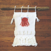 Red & White Woven Wall Hanging