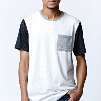 On The Byas Mendel Henley Crew T-Shirt - Mens Tee - Natural