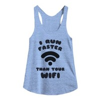 wifi running team-Female Athletic Blue Tank