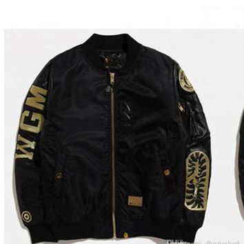 New Men's Black Shark Mouth Gold Thread Embroidery Thickening Cotton Clothing Jacket MA1 Air Force Jacket Men's Casual Cardigan