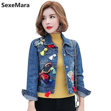 women Short Denim Jacket 2017 Fashion Ladies Tassel Patches Butterfly Embroidery Jeans Jacket Women