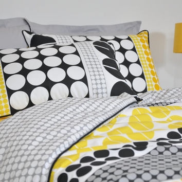 Geometric Dorm Bedding Set in Twin Twin XL, Black Yellow Grey Big Polka Dot Print Bedding, 4 pcs set of Duvet Cover Pillowcase Sham Sheet