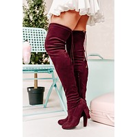 Evalina Faux Suede Thigh High Boots (Burgundy)