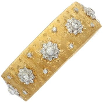 Buccellati Gold and Diamond Cuff Bracelet