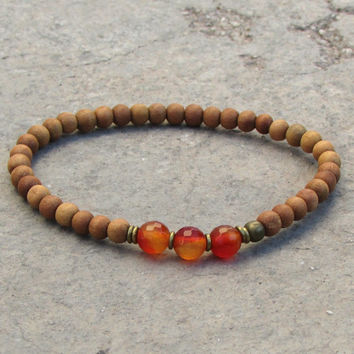 creativity, second chakra, sandalwood and genuine carnelian gemstone mala bracelet