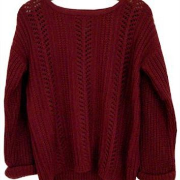 Bed and Breakfast Cable Knit Pullover, Burgundy
