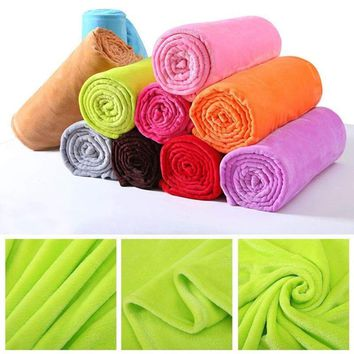 50*65 Soft Solid Warm Micro Plush Fleece Blanket Throw Rug Baby Sofa Bedding US