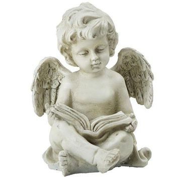 PEAPMS9 6.5' Decorative Sitting Cherub Angel Outdoor Garden Statue
