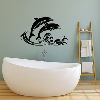 Vinyl Wall Decal Sea Waves Fish Dolphins Nautical Style Cartoon Bathroom Decor Stickers (4249ig)
