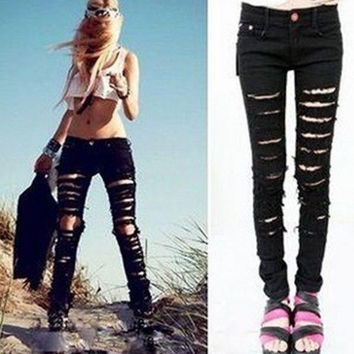 Hot Fashion  Cotton Denim Ripped Punk Cut out Women Sexy Skinny Pants Jeans Pencil Pants Black = 5708442689
