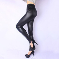 Black High Waist Stretch Slim Skinny  Leather Leggings Plus Size Women Pants