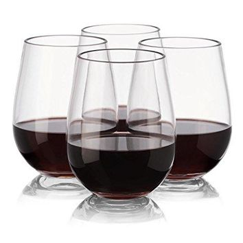 Plastic Wine Glasses  Set of 4 Red White Wine Stemless Glass  Unbreakable  Reusable  Shatterproof  16oz 450ml  Glasses for Parties Weddings Camping  Better than Polycarbonate Glasses  NOTMOG
