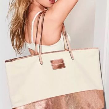 New Victoria's Secret Canvas Rose Gold Tote 2017