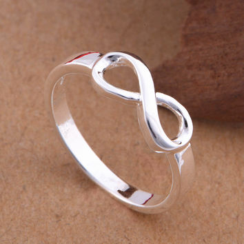 High Quality 925 Sterling Silver Infinity Ring Fashion Best Sister Love Forever Infinity Symbol Rings Size 7 8 Stamp S925