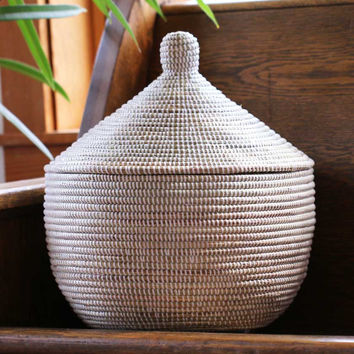 African Storage Basket with Domed Lid