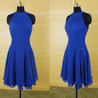 Homecoming Dress,Blue Chifon O-neck Elegant Short Prom Dress