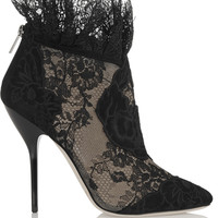 Jimmy Choo - Kamaris suede and lace ankle boots