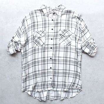 Womens Ex Boyfriend Flannel Shirt   Black + White Plaid