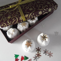 8 Handmade Christmas  Bath Muffins and 1 soap in a Handmade Giftbox