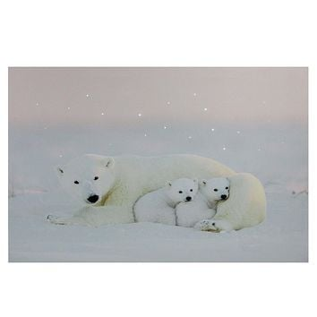 "Fiber Optic Lighted Mama Polar Bear and Cubs Canvas Wall Art 23.5"" x 15.5"""