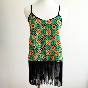 Festival Fringe Top - Orange/Green