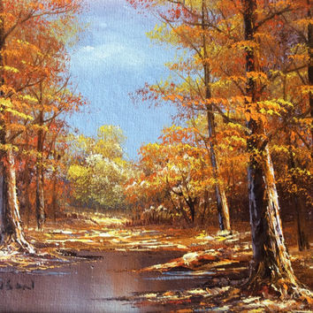 Vintage Landscape Painting Original Aronson Signed Realism Gorgeous Autumn Landscape Woodland Steam Wall Decor Home Decor