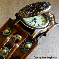 Leather wrist watch, Steampunk Watch, Womens Watch, Leather Watch, Bracelet Watch, Distressed Watch