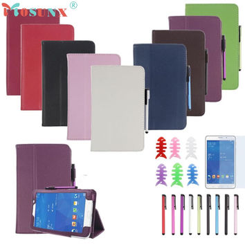 PU Leather Case Stand Cover For Samsung Galaxy Tab 4 7Inch Tablet SM-T230 SM-T231 with Film and Pen Reel jn14