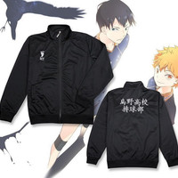 Haikyuu Karasuno High School Coat Jacket Cosplay Costume Black Sport Uniform
