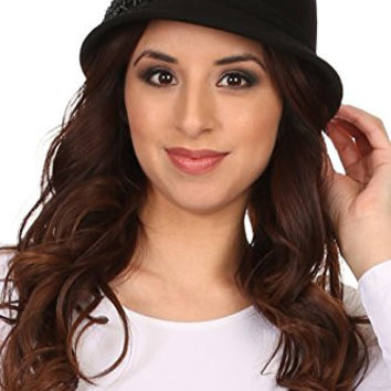 Sakkas CL2162 - Perla Vintage Wool Cloche Bucket Embroidered Beaded Embellished Hat Cap - Black - OS
