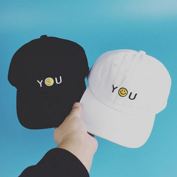 "Harajuku Style Letter ""YOU"" Embroidered Baseball Cap Hip-Hop Hat Retro Casual Snapback Casquette POLOs for Women and Men"