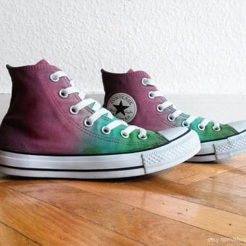 Burgundy red & grass green ombre Converse, dip dye All Stars, Chucks, upcycled sneaker