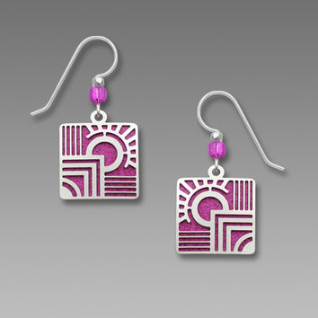 Adajio Earrings - Etched Deco Square Overlay on Fuchsia Backer