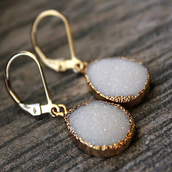 White Druzy Drop Earrings,  Snow White Dangle, Gold Electroplated, Large Teardrops, Natural Druzy, White Crystal Druzy Jewelry