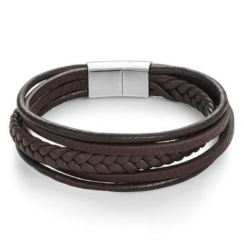 Woven Leather Men's Bracelet