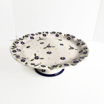 Ceramic Cake Stand by Casa Fina Hand Painted Ceramic Made in Portugal c1990's  Blue Flowers Yellow Dots Scalloped Edge