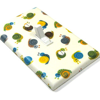 Snail Light Switch Cover Woodland Nursery Decor Boys Bedroom Decoration Green Brown Yellow Blue 1295