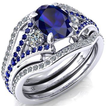 Arietis Oval Lab-Created Blue Sapphire Diamond Sides 3/4 Eternity Accent Blue Sapphire Ring