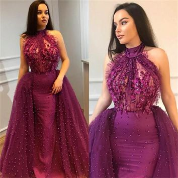 2018 Purple Tulle Arabic Evening Dress High Neck Off The Shoulder Pearls Illusion Floor Length Mermaid Prom Gowns Custom Made