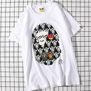 Trendsetter Bape Women Man  Fashion Cotton  Short Sleeve Shirt Top Tee