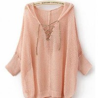 Hooded Hollow Asymmetrical Sweater  ST005F