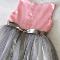 Pink and Grey Flower girl dress, satin and tulle dress, girl's party dress, little girl's dress, birthday dress