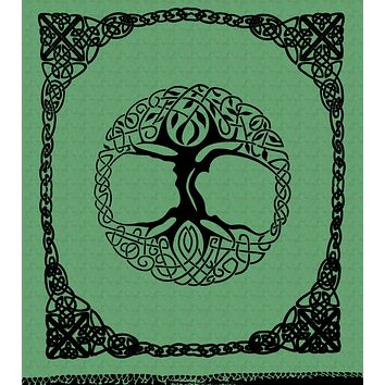 Celtic Tapestry Tree of life Cotton Bedspread with Fringes - Twin Full