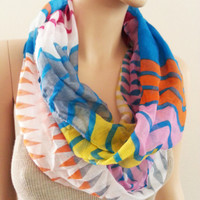 Multicolor Infinity Scarf Geometric, Tribal Chevron Viscose Scarf, Pink Blue Orange Womens Fashion Gift