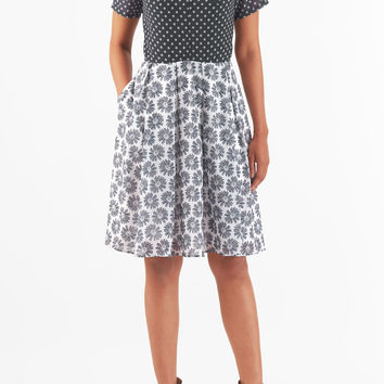 Mixed print colorblock georgette dress